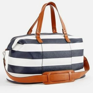 Navy and white stripe weekender